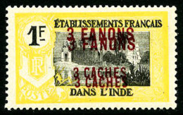 N°73a, 3 Fa. 3 Ca. Sur 1 F. Jaune Et Noir, Double Surcharge, TB