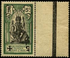 N°45Db (Maury), 5 Sur 5 C. Vert Et Noir, Surcharge Noire Renversée, Interpanneau, TB (cote Maury)