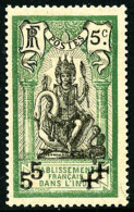 N°45Da (Maury), 5 Sur 5 C. Vert Et Noir, Surcharge Noire Doublée, Gomme Coloniale Sinon TB (cote Maury)