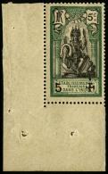 N°45D (Maury), 5 Sur 5 C. Vert Et Noir, Surcharge Noire, Coin De Feuille, TB (cote Maury)