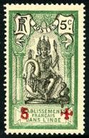 N°45C (Maury), 5 Sur 5 C. Vert Et Noir, Surcharge Rouge, Gomme Coloniale Sinon TB (cote Maury)