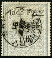 """N°24a, 5 C. Bleu, Variété """"E Large"""", Oblitéré, TB"""