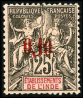 N°21, 0,10 Sur 25 C. Noir Sur Rose, TB