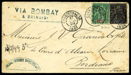 N°4 Et 5, Oblitérés Càd De Chandernagor Du 27 Avril 1899 Sur Enveloppe Pour Bordeaux, TB