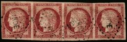 Colonies Générales N°21, 80 C. Rose, Bande Horizontale De 4 Oblitérée Losange INDE, TB