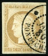 Colonies Générales N°19, 15 C. Bistre, Oblitéré Càd INDE/PONDICHERY, Pièce