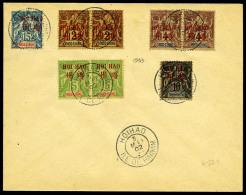 N°7, 15 C. Bleu, N°2 (paire), 3 (paire), 4 (paire), 5, Les 8 Valeurs Oblitérées Sur Enveloppe N'ay
