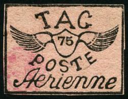 Poste Aérienne N°9, 75 C. Noir Sur Rose, Petites Marges Et Trace De Signature, B/TB