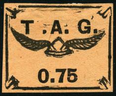 Poste Aérienne N°3, 75 C. Noir Sur Saumon, Léger Pli Sinon TB (émis Sans Gomme)