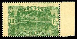 N°89, 10 F. Vert Sur Jaune, Impression Au Recto Et Renversée Au Verso, Bord De Feuille, Superbe