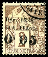 N°2a, 0 F.05 Sur 2 C. Lilas-brun Sur Paille, Surcharge Type Ia, Oblitéré, TB