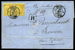 Colonies Générales N°53, 25 C. Jaune-bistre,  Deux Ex. Oblitérés Càd De Cayenne D