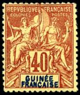 N°10a, 40 C. Rouge-orange, Double Légende, TB