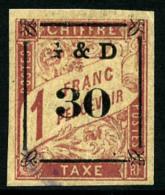 Taxe N°14d, 30 Sur 1 F. Rose Sur Paille, Sans G Partiellement, Superbe