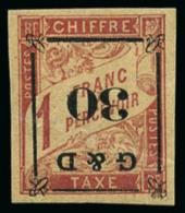 Taxe N°14b, 30 Sur 1 F. Rose Sur Paille, Surcharge Renversée, TB