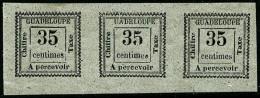 """Taxe N°11b, 35 C. Gris, Variété """"UADELOUPE"""" Dans Une Bande Horizontale De 3, Superbe"""