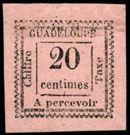 "Taxe N°9a, 20 C. Rose, Variété ""2 Penché"", Superbe"