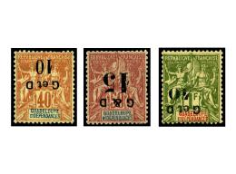 N°46e, 47f, 48b, Surcharges Renversées, Les 3 Valeurs, TB