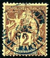 N°28, 2 C. Lilas-brun Sur Paille, Oblitéré Càd Bleu De Saint Martin, TB