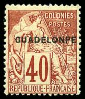 N°24aC, 40 C. Rouge-orange, Erreur GUADELONPE, TB