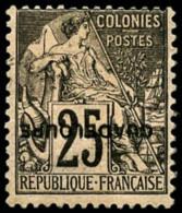 N°21c, 25 C. Noir Sur Rose, Surcharge Renversée, TB