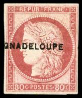 "N°13a(A), 80 C. Rose, Erreur ""GNADELOUPE"", TB"