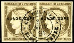 """N°12, 30 C. Brun, Variété """"petit G"""" Tenant à Normal, Oblitéré, TB (cote Des Timbr"""