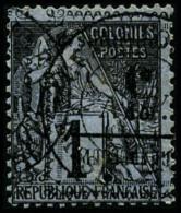 N°6a, 5 C. Sur 1 C. Noir Sur Azuré, Surcharge Renversée, Oblitéré, TB