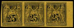 N°2b, 25 Sur 35 C. Violet-noir Sur Jaune, 25 Avec Gros 5 Dans Une Bande Horizontale 3 Bord De Feuille, Superbe