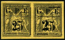 N°2a, 25 Sur 35 C. Violet-noir Sur Jaune, 25 Avec Gros 2 Tenant à Normal, TB