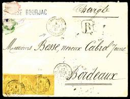 Colonies Générales N°53, 25 C. Jaune-bistre, Bande Horizontale De 3 (1 T. Déf.), Oblitér