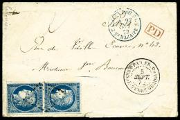 Colonies Générales N°23, 25 C. Bleu, Paire Verticale Oblitérée Losange De Points Sur Env