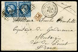 Colonies Générales N°23, 25 C. Bleu, Paire Horizontale Oblitérée Losange De Points Et GC