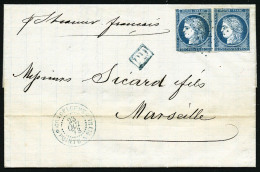 Colonies Générales N°23, 25 C. Bleu, Paire Horizontale (dont 1 Déf.), Oblitérée L