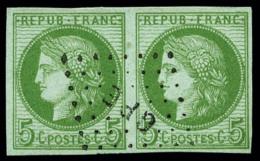Colonies Générales N°17, 5 C. Vert Sur Azuré, Paire Horizontale Oblitérée Losange