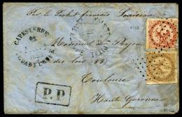 Colonies Générales N°3 Et 5, Déf., Oblitérés Losange De Points Sur Enveloppe Avec