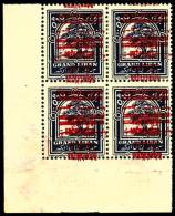 N°98e, 0 Pi.10 Violet, Doubles Surcharges Renversées, Bloc De 4 Coin De Feuille, Superbe