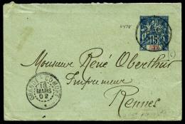 Lettre-entier 15 C. Bleu, Oblitéré Du 18 Mars 1902 Pour La France, TB