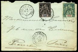 N°4 Et 5, Oblitérés Càd Du 18 Mai 1905 Sur Enveloppe Pour Paris, B/TB