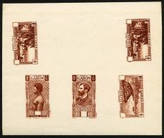 Types De 1932 Tirage En Brun-rouge Poste 4 Valeurs Dont 1 Double, Taxe 1 Valeur, Sur Petite Feuille, Petite Déchi