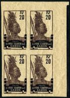 N°55, 20 C. Tirage En Violet Et Brun, Non-dentelé, Bloc De 4 Coin De Feuille, Superbe