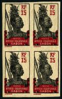 N°54, 15 C. Tirage En Rouge Et Noir, Non-dentelé, Bloc De 4, Superbe