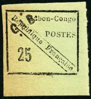 N°15, 25 C. Noir Sur Vert, Bas De Feuille, TB