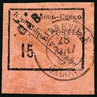 N°14, 15 C. Noir Sur Rose, Bas De Feuille, Oblitéré, Superbe