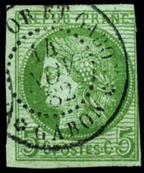 Colonies Générales N°17, 5 C. Vert Sur Azuré (touché Dans Un Angle), Oblitér&eacu