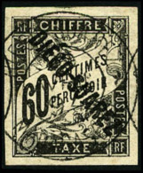 Taxe N°12, 60 C. Noir, Oblitéré, Superbe