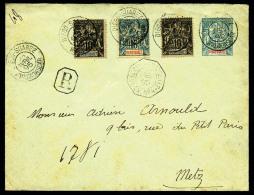 N°29 (x2) Et 30, Oblitérés Sur Lettre-entier 15 C. Bleu, Recommandée Du 25 Avril 1895 Pour Metz