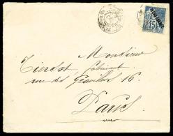 N°18, 15 C. Bleu, Oblitéré Càd Du 3 Décembre 1892 Sur Enveloppe Pour Paris Avec Cachet D