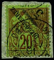 N°12a, 5 C. Sur 20 C. Brique Sur Vert, Surcharge Renversée, Oblitéré Sur Petit Fragment, TB