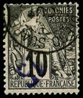 N°3a, 15 Sur 10 C. Noir Sur Lilas, Surcharge Renversée, Oblitéré, TB
